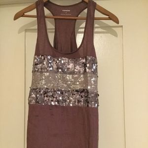 Purple glittery racer back tank